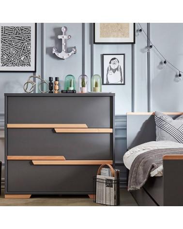Commode noire 3 tiroirs collection Snap dans une chambre enfant