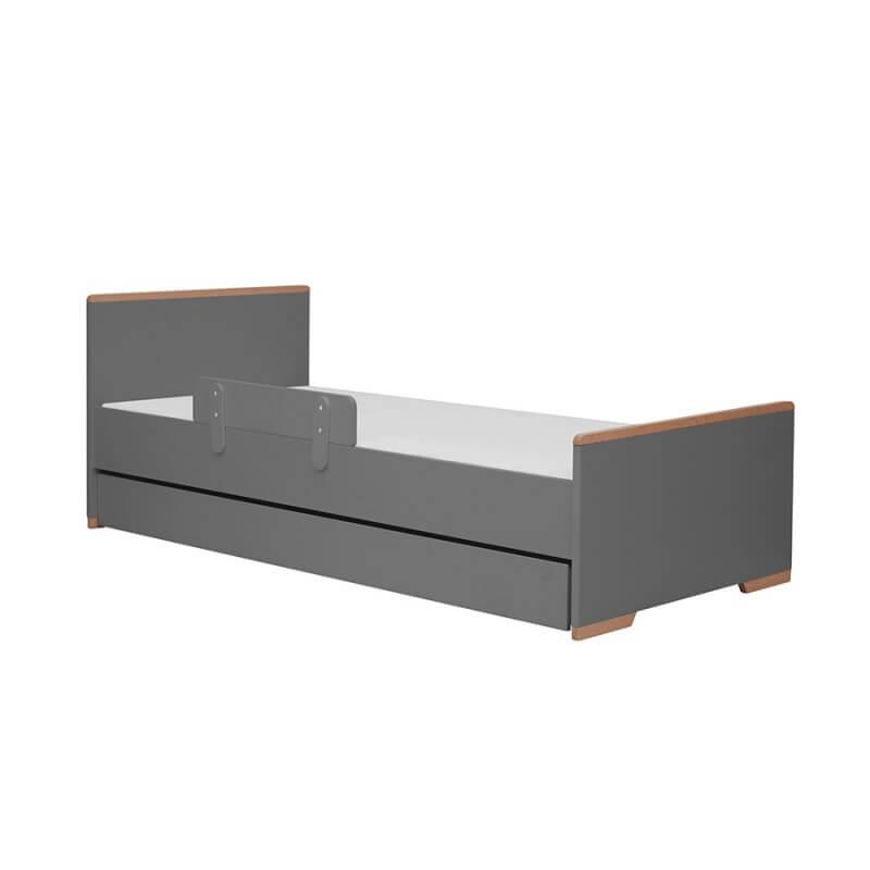 Lit noir 200x90 avec tiroir et barrière anti-chute collection Snap