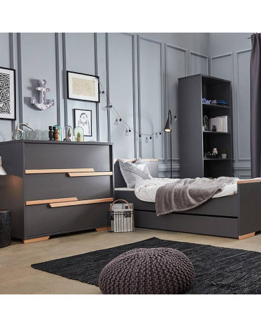 Lit noir 200x90 avec tiroir collection Snap dans une chambre ado