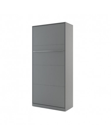 Lit armoire escamotable vertical - gris 90x200