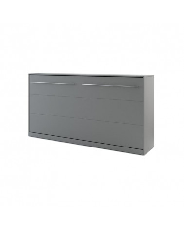 Lit armoire escamotable horizontal - gris 90x200