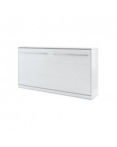 Lit armoire escamotable horizontal - blanc mat 90x200
