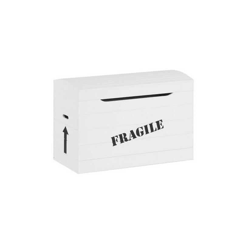 """Coffre à Jouets """"Fragile"""" - Blanc"""
