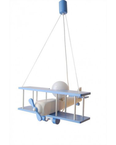 Suspension Grand Avion Bleu / Blanc