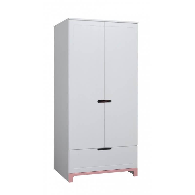 Armoire deux portes Blanches avec des finitions roses