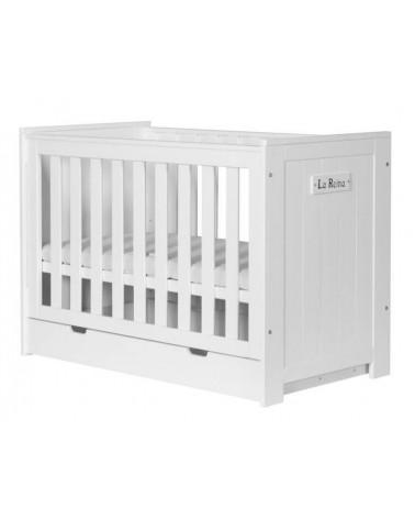 Lit Bébé Barcelone blanch avec tiroir de lit