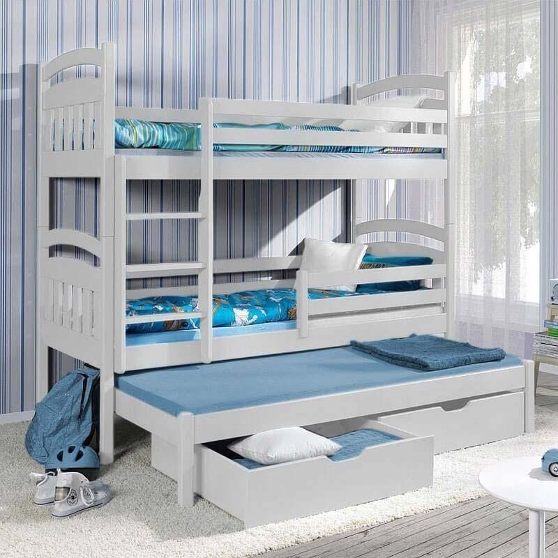 lit superpos jack iii avec lit gigogne 3 couchages blanc. Black Bedroom Furniture Sets. Home Design Ideas
