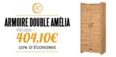 Armoire 2 portes couleur bois AMÉLIA